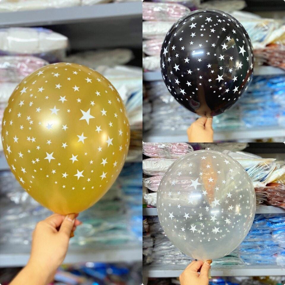 Set 10 bong bóng chấm sao (vàng/đen/trong suốt)