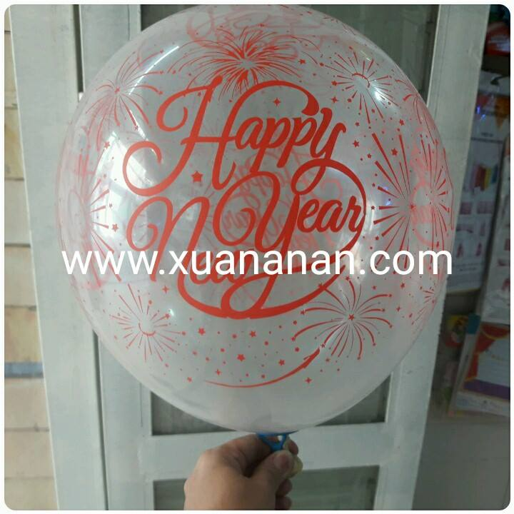 Set 10 bong bóng trong suốt in chữ Happy New Year 30cm