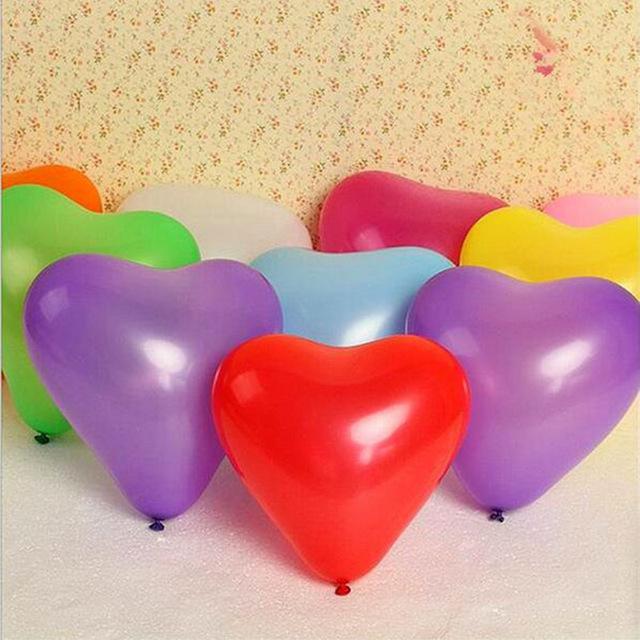 Bịch 50 bong bóng cao su hình trái tim 25cm (có đủ màu)