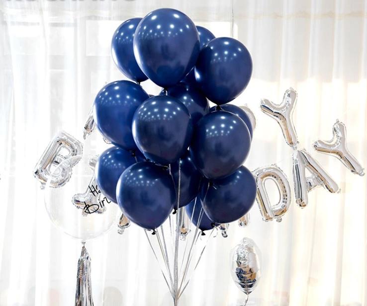 Bịch 50 bong bóng nhũ màu xanh Navy 25cm