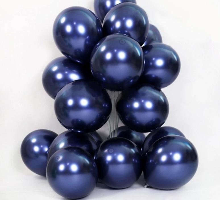Bịch 50 bong bóng tròn nhũ màu xanh Navy 25cm