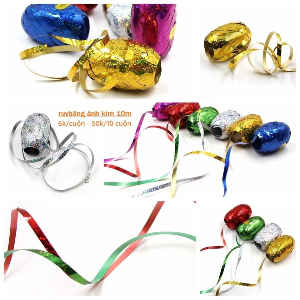 Cuộn dây ruy băng ánh kim 5mmx10m (có 6 màu)