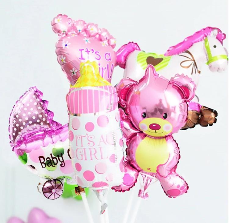 Combo 5 cái bong bóng kiếng mini Baby (xanh/hồng)