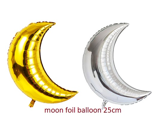 Bong bóng kiếng hình mặt trăng 25cm (gold/silver)