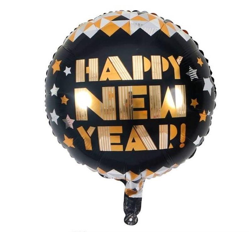 Bong bóng kiếng hình tròn chữ Happy New Year gold 45cm