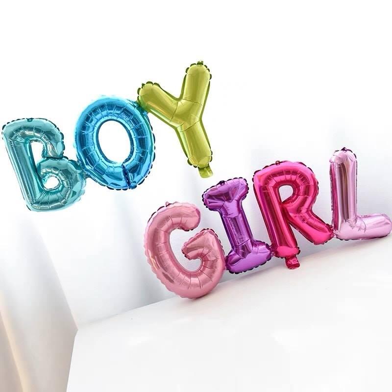 Bong bóng kiếng chữ GIRL/BOY liền 80cm