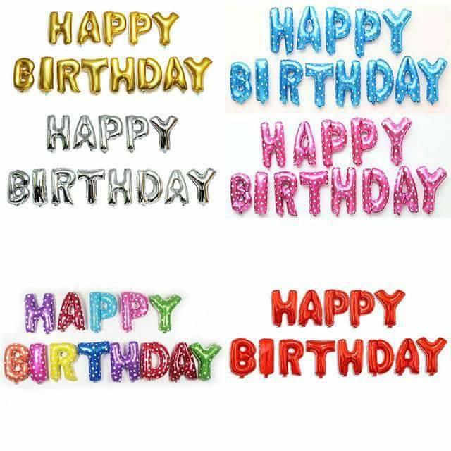 Set bong bóng kiếng chữ Happy Birthday (có 12 màu)