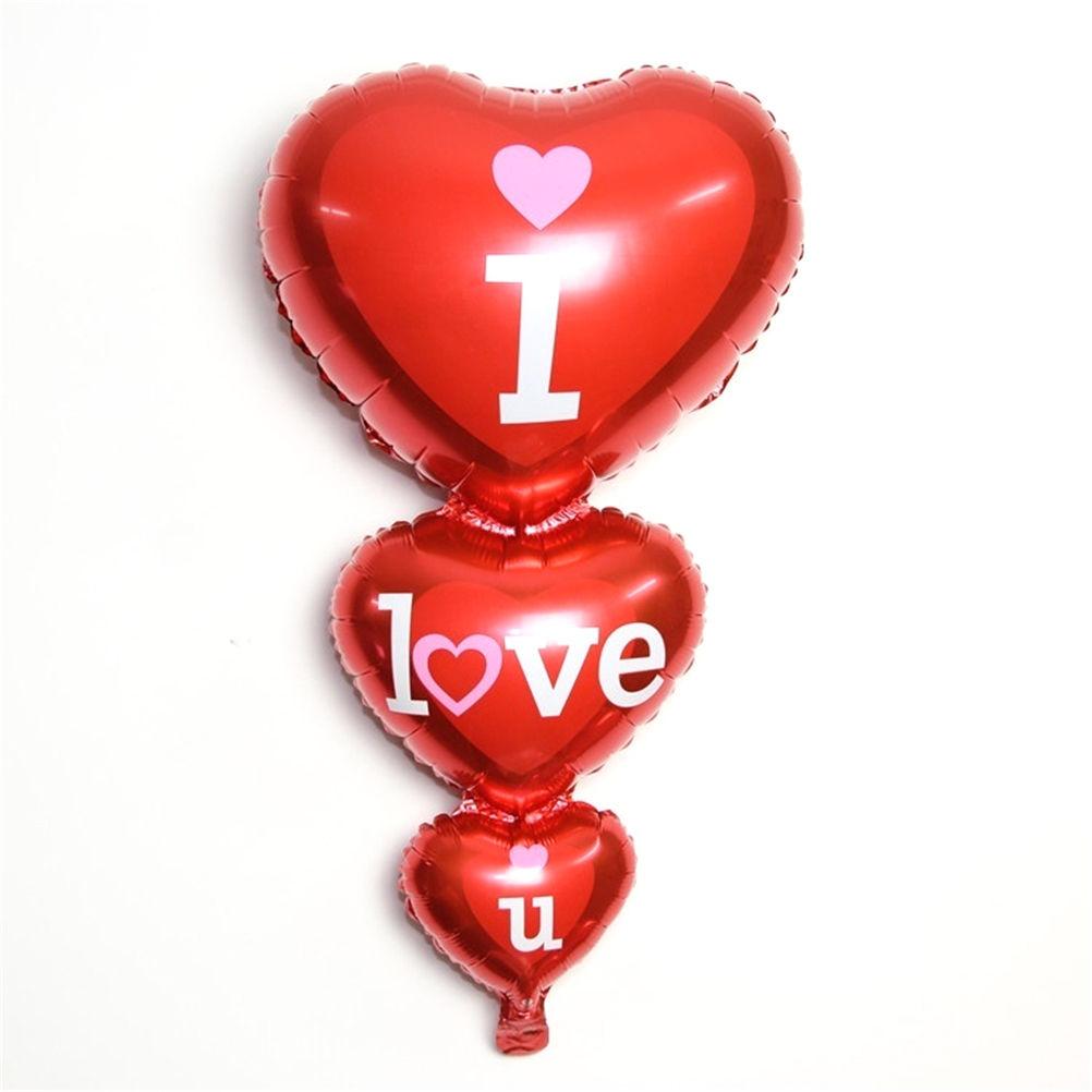 Bong bóng kiếng trái tim 3 tầng I love U cao 91cm