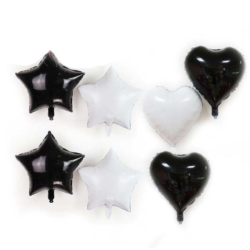 Bong bóng kiếng hình ngôi sao/trái tim màu trắng/đen 45cm