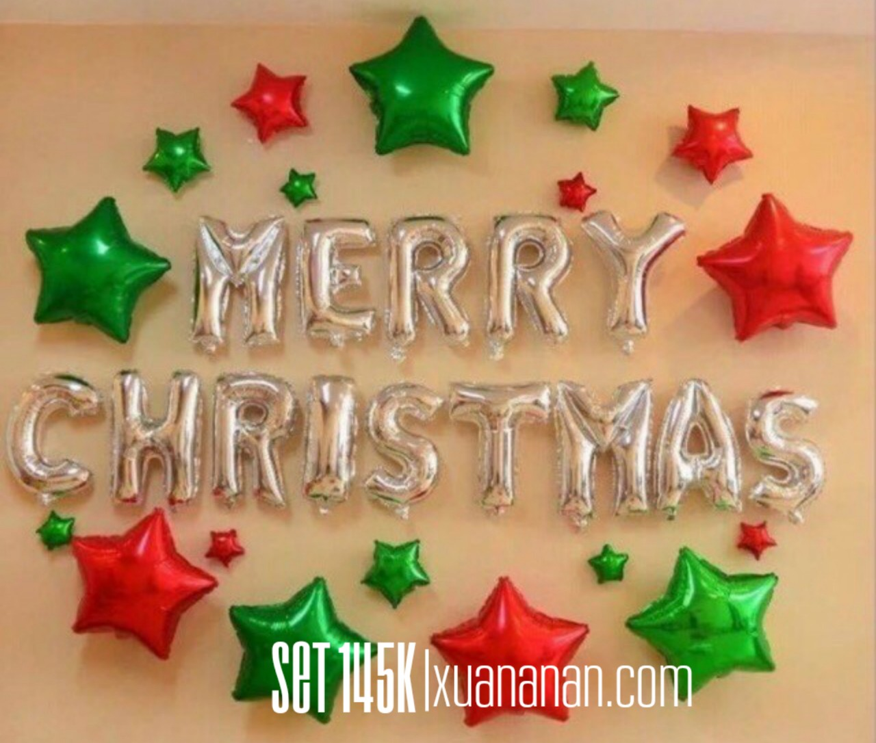 Set bong bóng kiếng Merry Christmas #6 *tặng keo dán