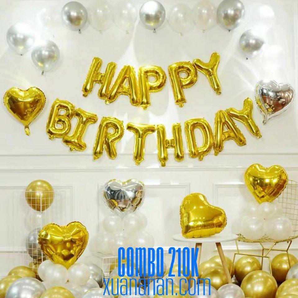 Combo trang trí sinh nhật tông màu Vàng - Bạc - Trắng [210K]