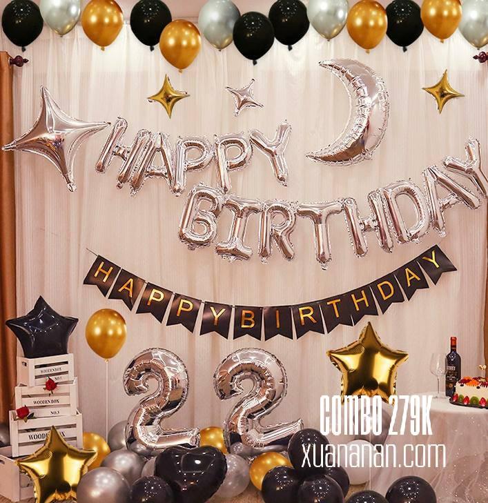 Combo trang trí sinh nhật Black-Gold-Silver [279K]