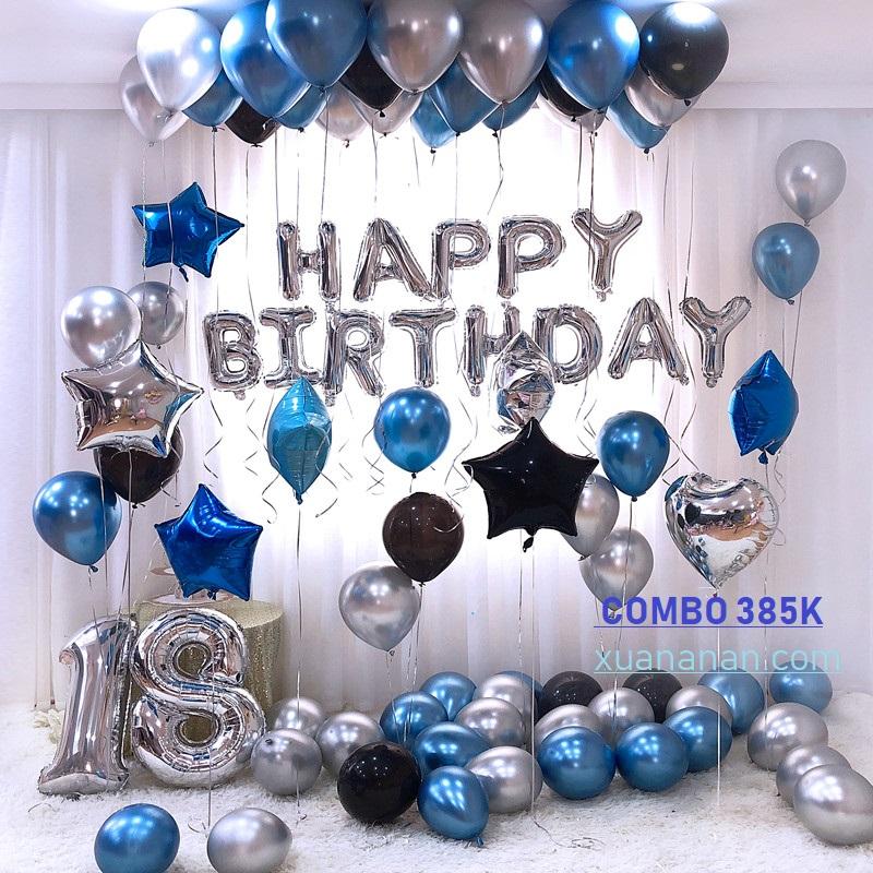 Combo trang trí sinh nhật siêu nhũ Chrome - Silver - Blue [320k]
