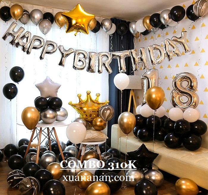 Combo trang trí sinh nhật Đen-Trắng-Vàng-Bạc [310K]