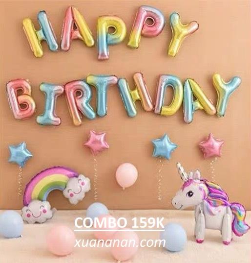 Combo trang trí sinh nhật Cầu Vồng sắc màu [159K]