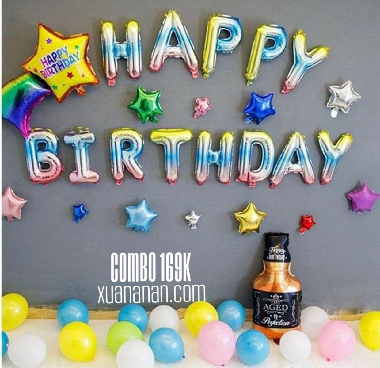 Combo trang trí sinh nhật màu cầu vồng 169K