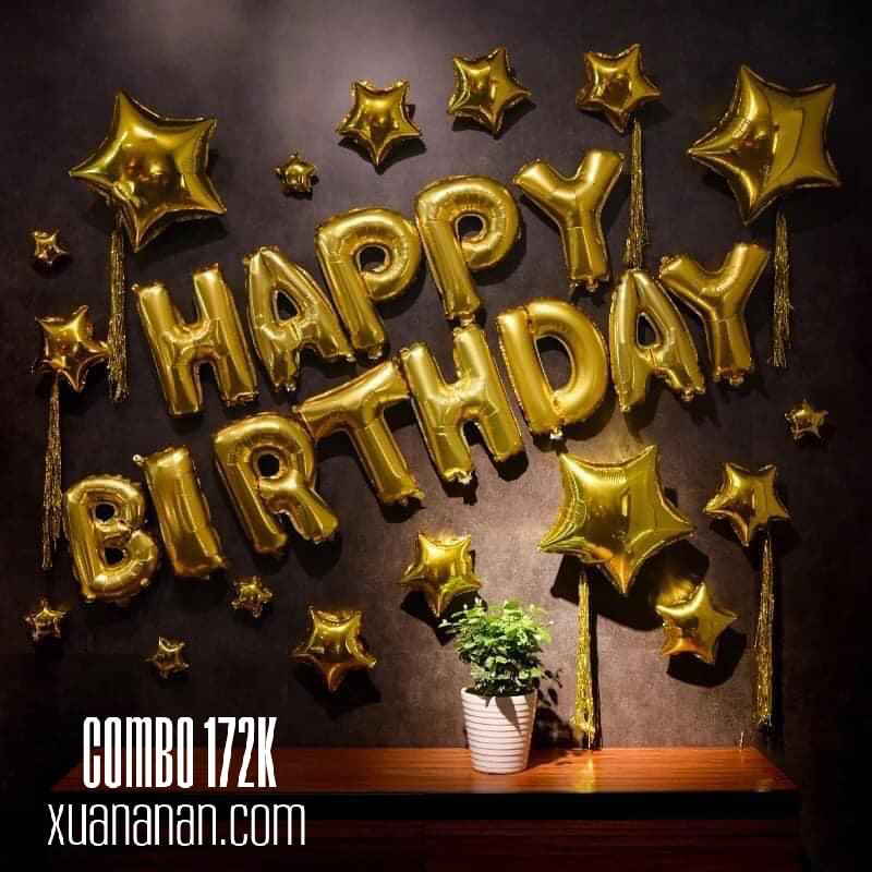 Combo trang trí sinh nhật Vàng/Bạc [172K]