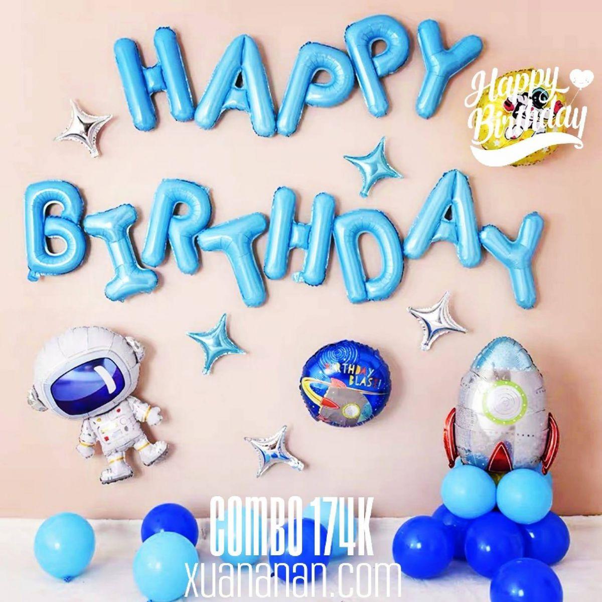 Combo trang trí sinh nhật mẫu Phi Hành Gia [174K]