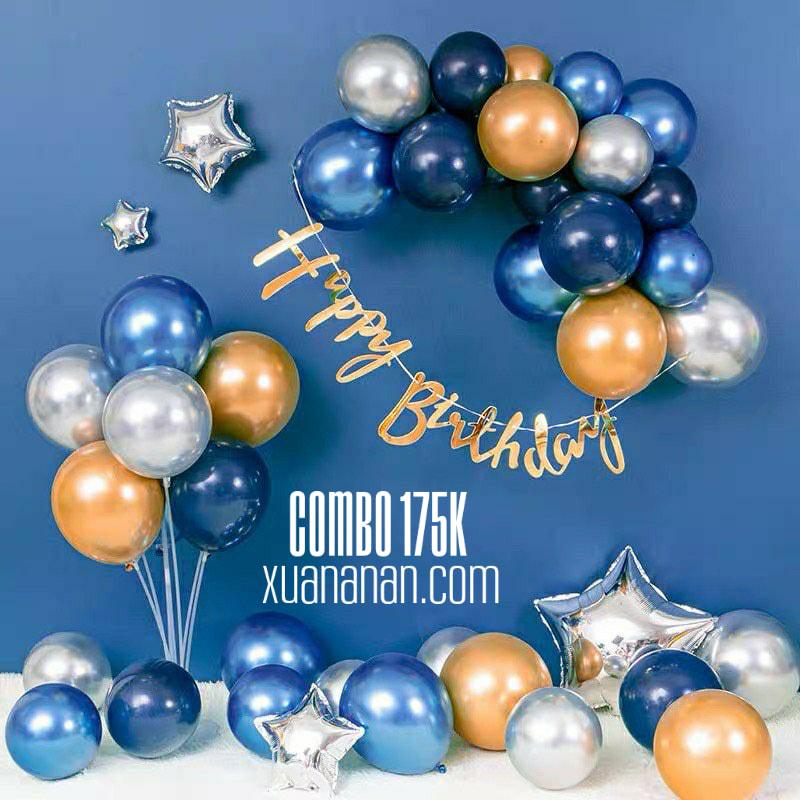 Combo trang trí sinh nhật Vàng-Bạc-Xanh 175K