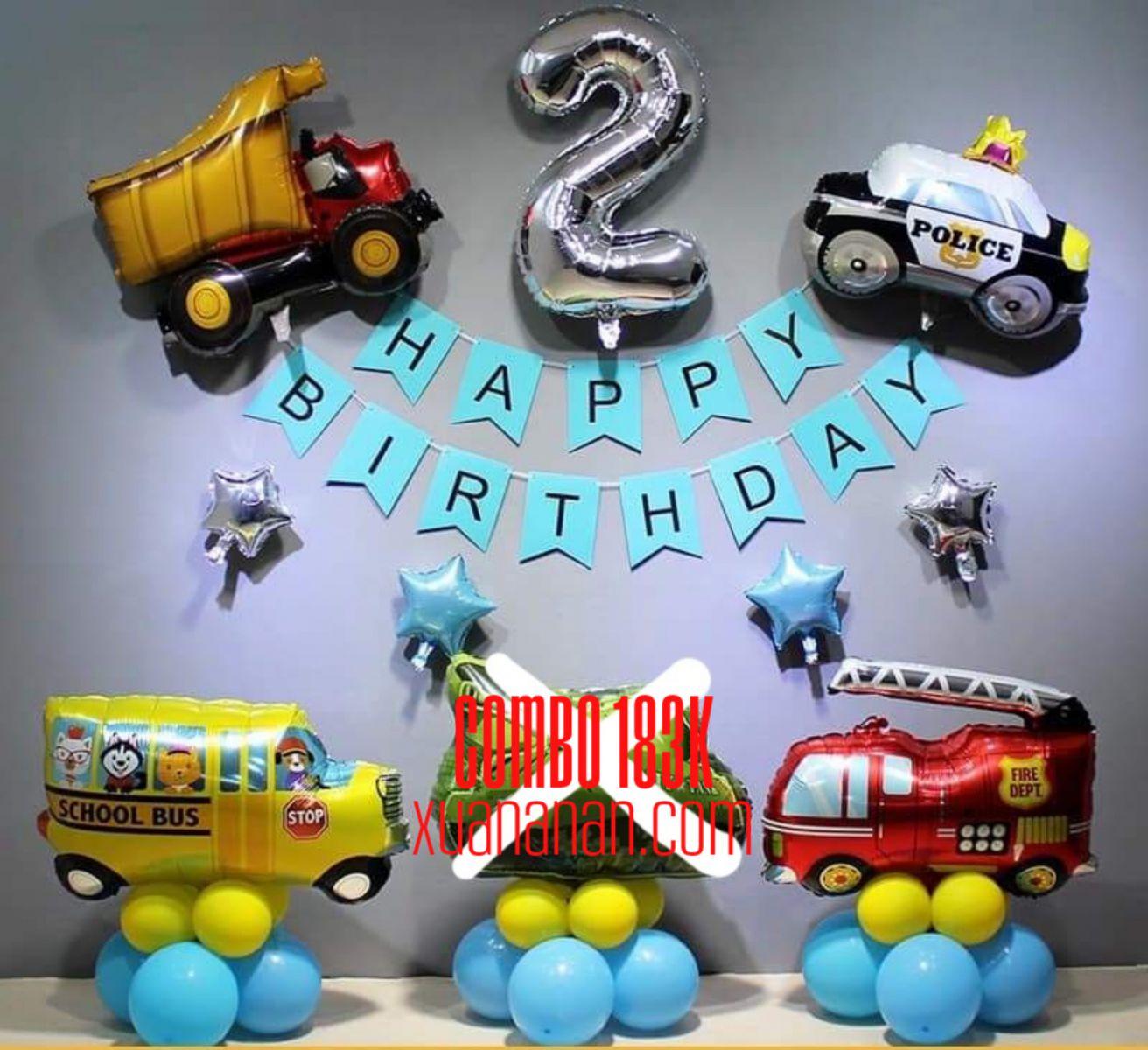 Combo trang trí sinh nhật Phương tiện giao thông [183K]