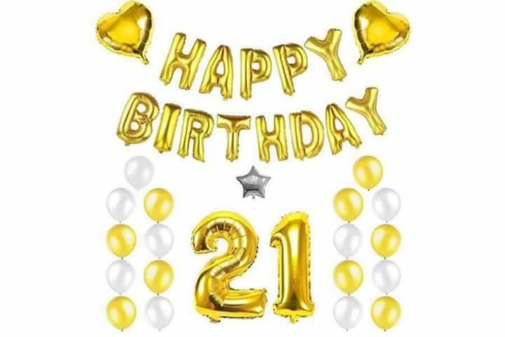 Combo trang trí sinh nhật phối tông vàng - bạc [168K]
