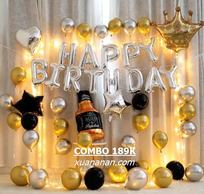 Combo trang trí sinh nhật Siêu Nhũ Vàng Bạc [189K]