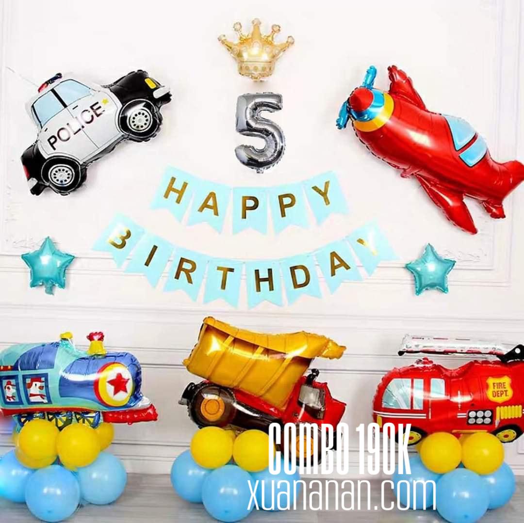 Combo trang trí sinh nhật Phương tiện giao thông [190K]
