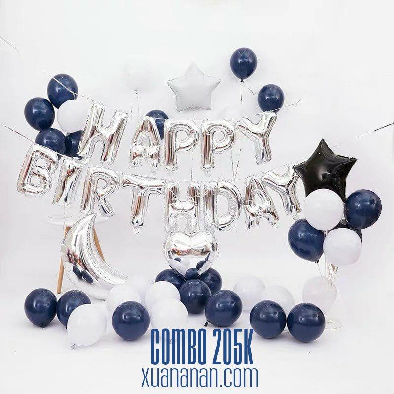 Combo trang trí sinh nhật tông Xanh Navy & Bạc [205K]
