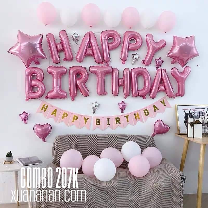 Combo trang trí sinh nhật tông màu Bạc-Hồng [207K]