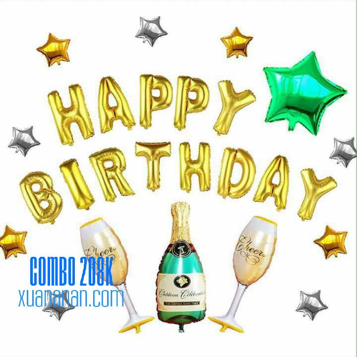 Combo trang trí sinh nhật tông vàng bạc xanh [208K]