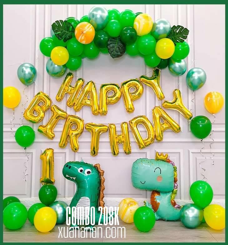 Combo trang trí sinh nhật khủng long xanh [208K]