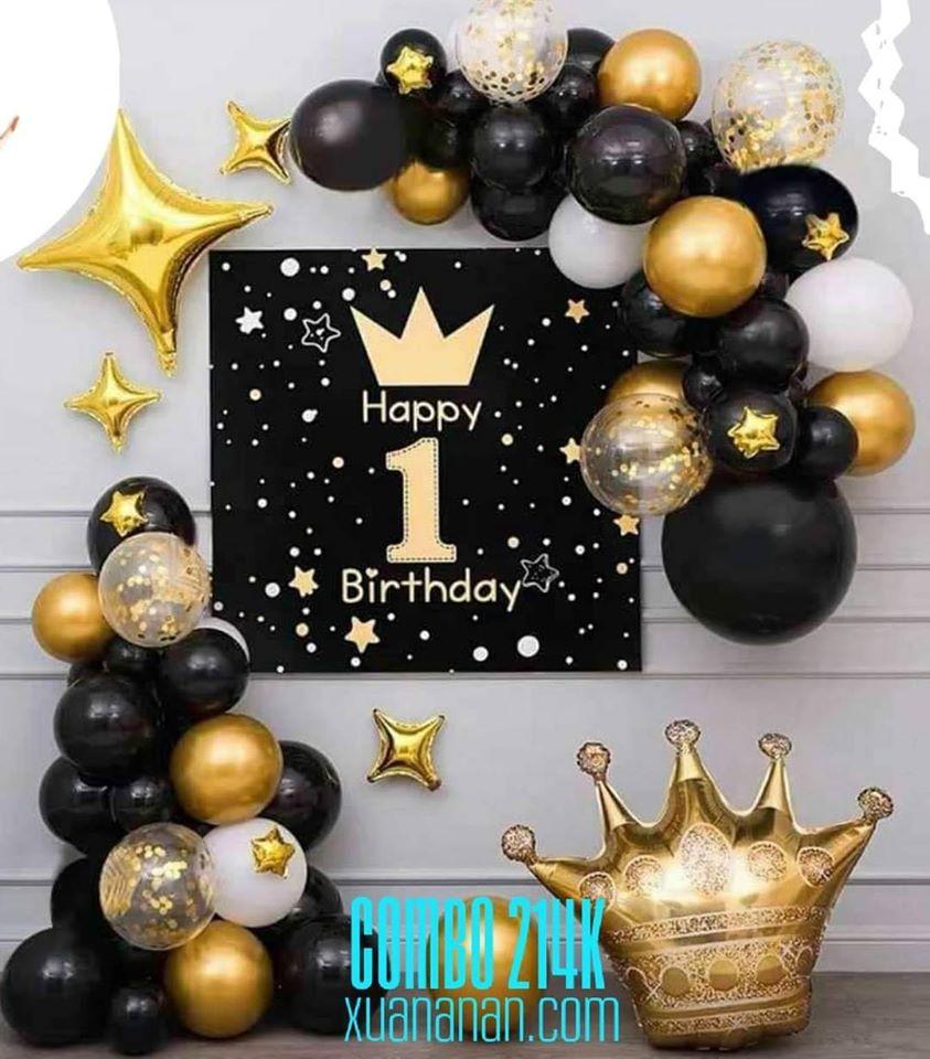 Combo trang trí sinh nhật Gold - Black [214K]