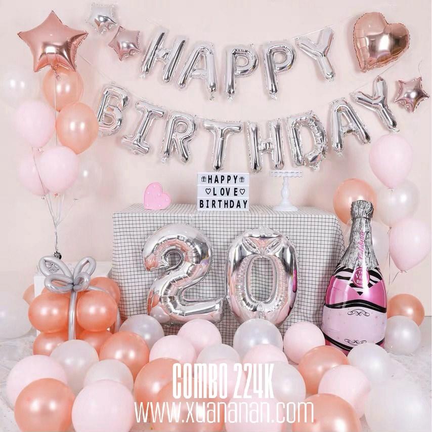 Combo trang trí sinh nhật Rosegold & Pink [224K]