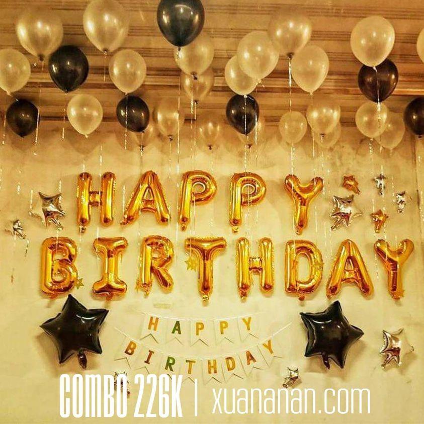 Combo trang trí sinh nhật tông vàng đen [226k]