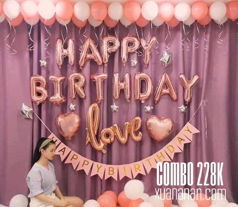Combo trang trí sinh nhật tông màu Rosegold [228K]