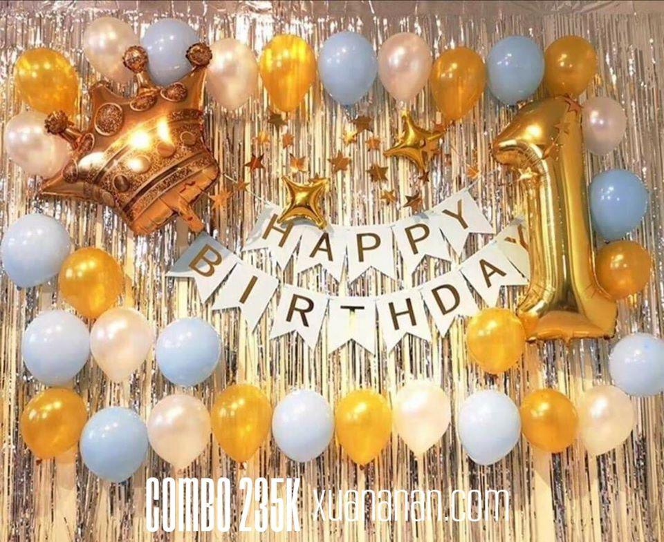 Combo trang trí sinh nhật tông Vàng Bạc Xanh Pastel [235K]