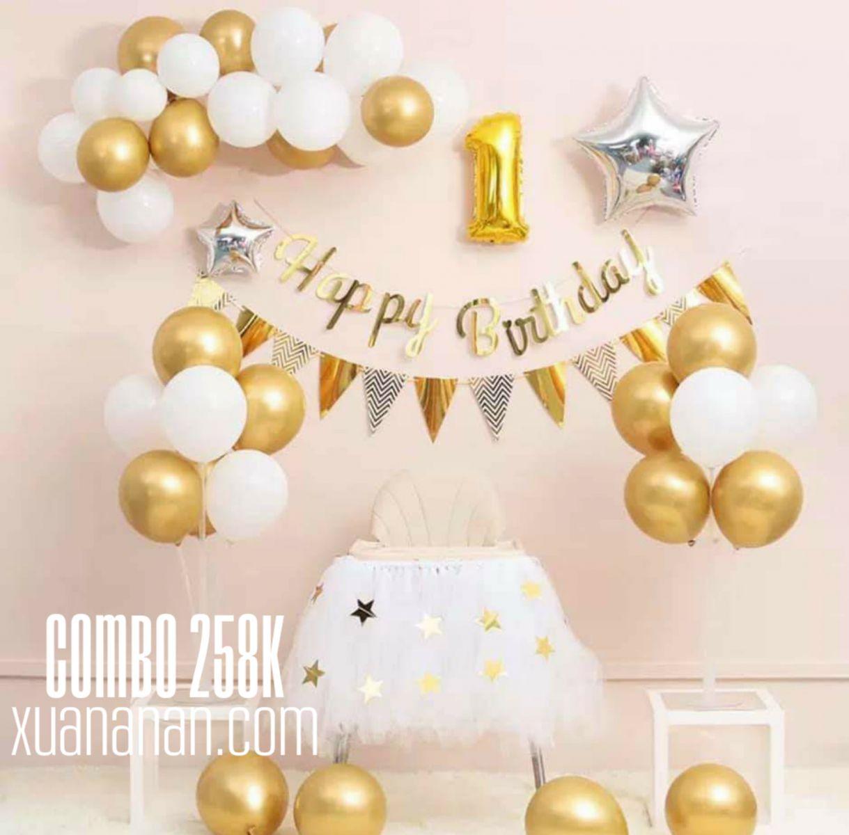 Combo trang trí sinh nhật Vàng - Bạc [258K]
