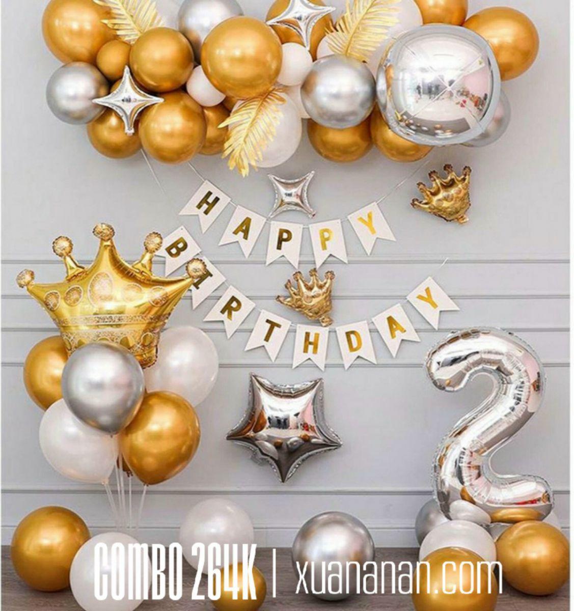 Combo trang trí sinh nhật Vàng Bạc Trắng [264K]