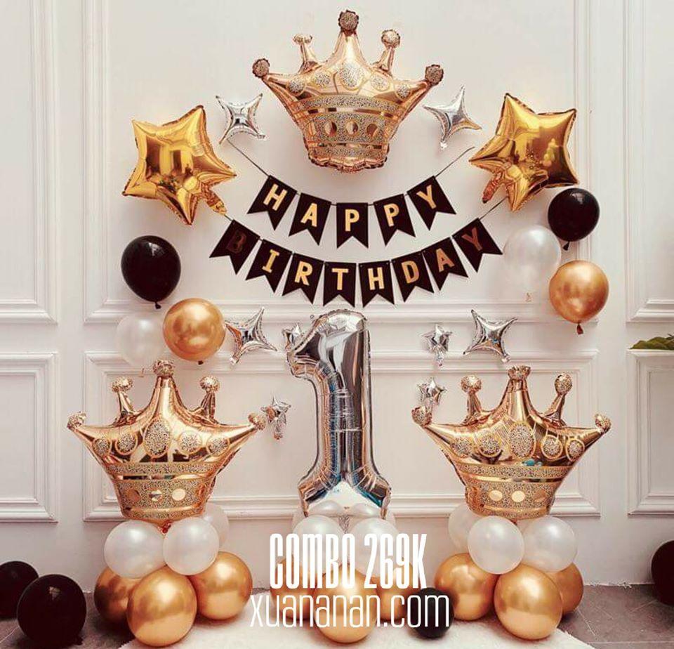 Combo trang trí sinh nhật Gold Black [269K]