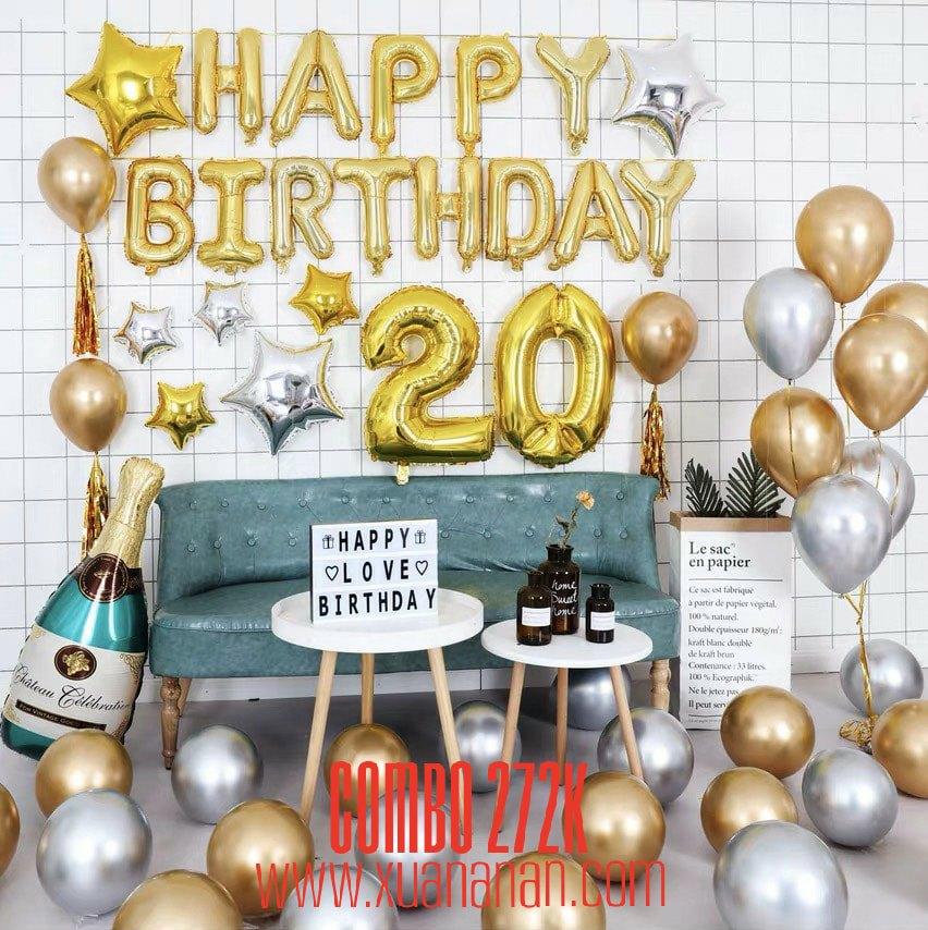 Combo trang trí sinh nhật siêu nhũ Vàng - Bạc [272K]