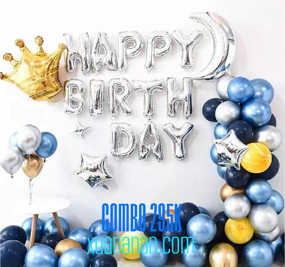 Combo trang trí sinh nhật siêu nhũ Chrome - Silver - Blue [230K]