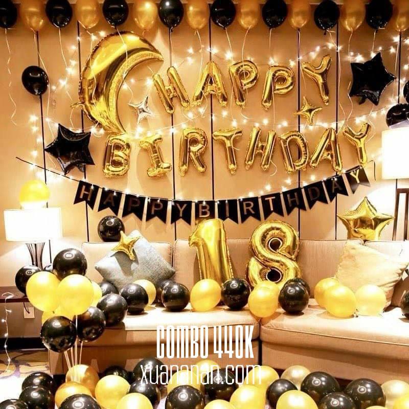 Combo trang trí sinh nhật tông màu Đen - Vàng đồng [440k]