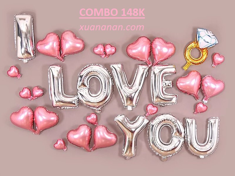 Combo bong bóng kiếng chữ I Love You [148K]