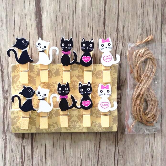 Set 10 kẹp gỗ dây treo trang trí mẫu Mèo đen trắng