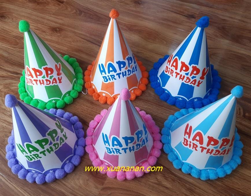 Nón sinh nhật viền bông sọc màu (có nhiều màu)