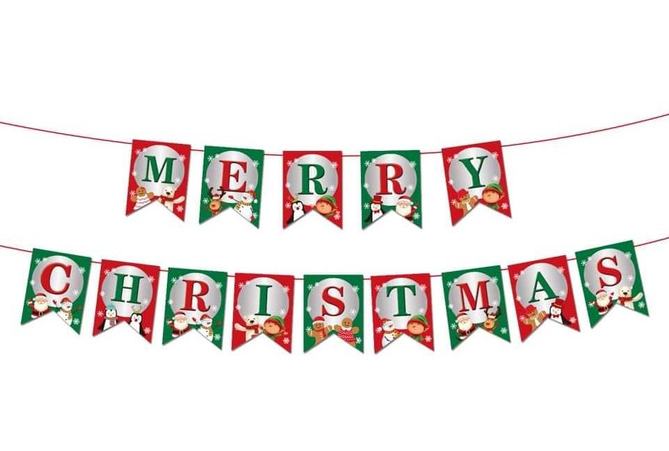 Dây treo chữ Merry Christmas đuôi cá xanh đỏ