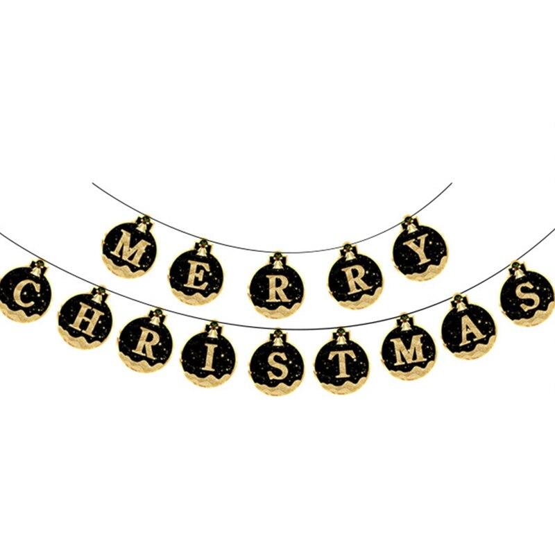 Dây treo chữ Merry Christmas vàng đen