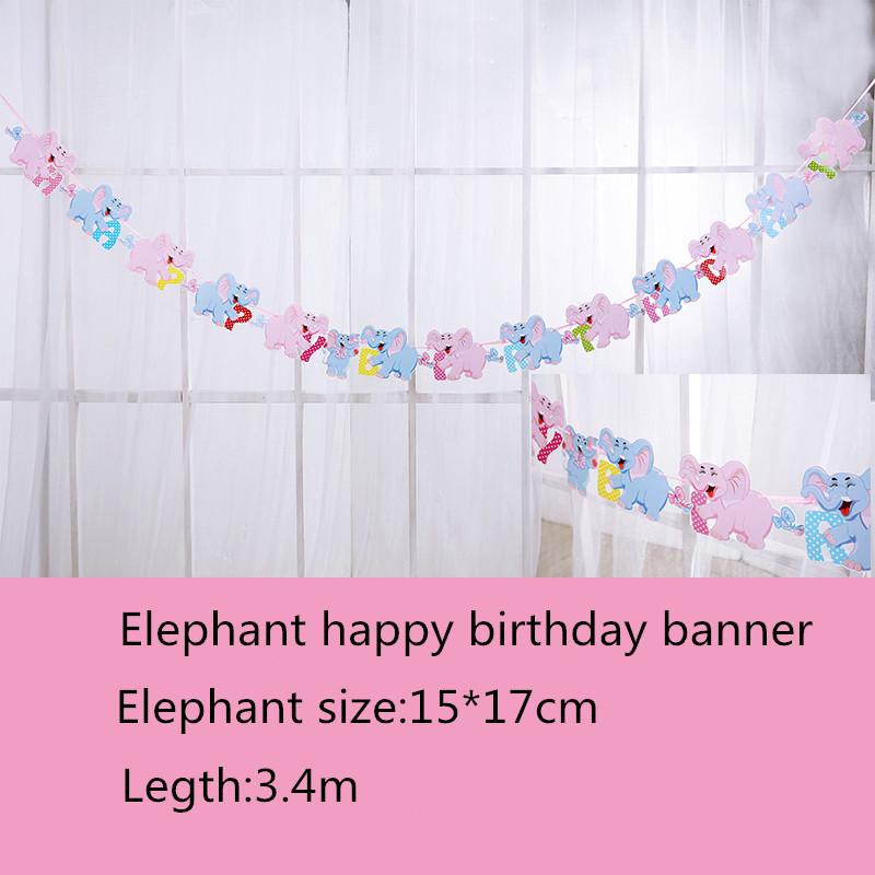 Dây chữ Happy Birthday hình voi 3m4