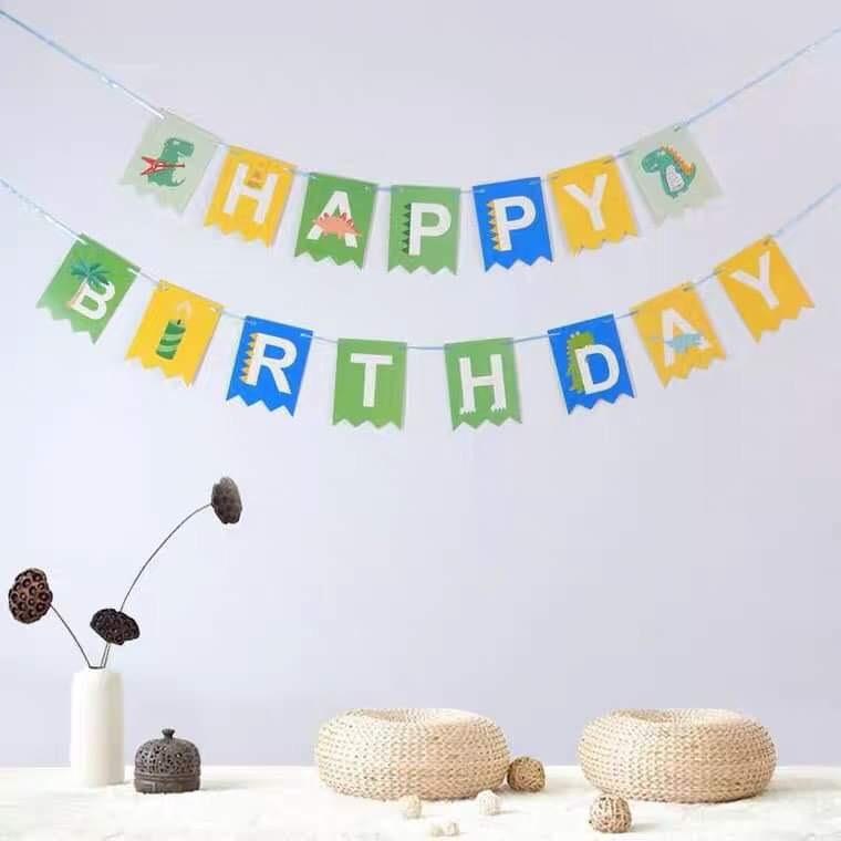 Dây chữ Happy Birthday mẫu Khủng long
