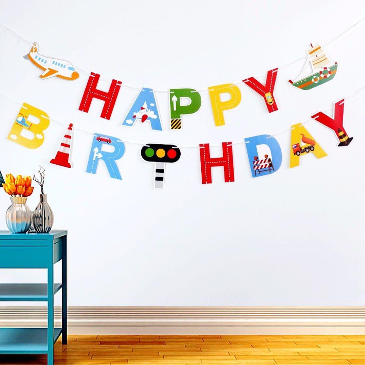 Dây chữ Happy Birthday mẫu Tàu thủy Máy bay